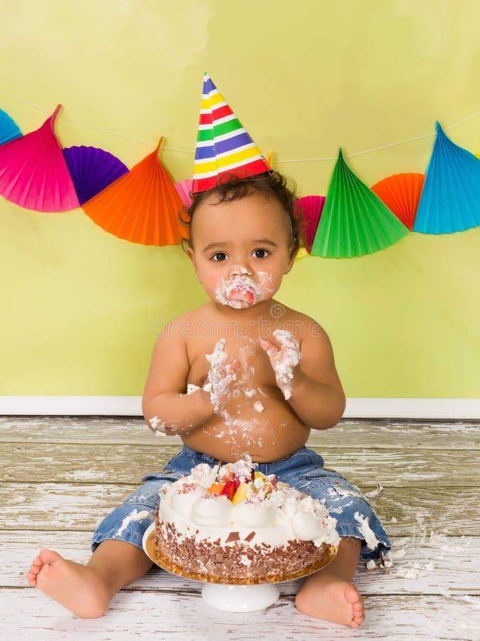 Cake smash baby boy royalty free stock photo