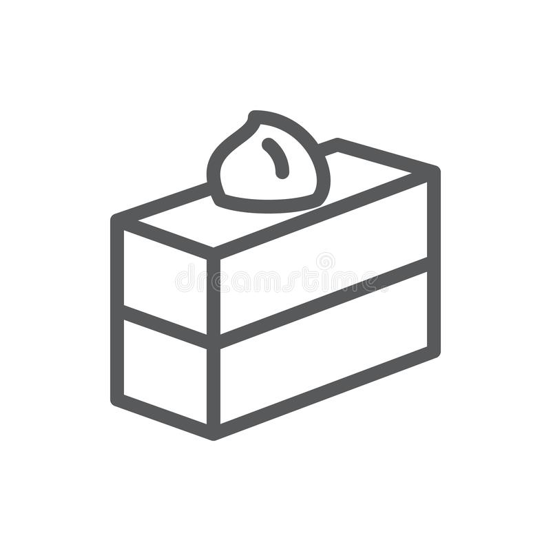Cake square piece pixel perfect icon with editable stroke - sweet baked layered pastry decorated with glaze. Cake rectangular piece pixel perfect icon with vector illustration