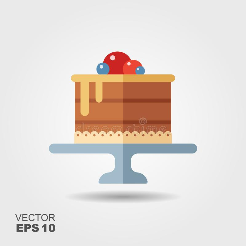 Cake on the stand flat icon with shadow stock illustration