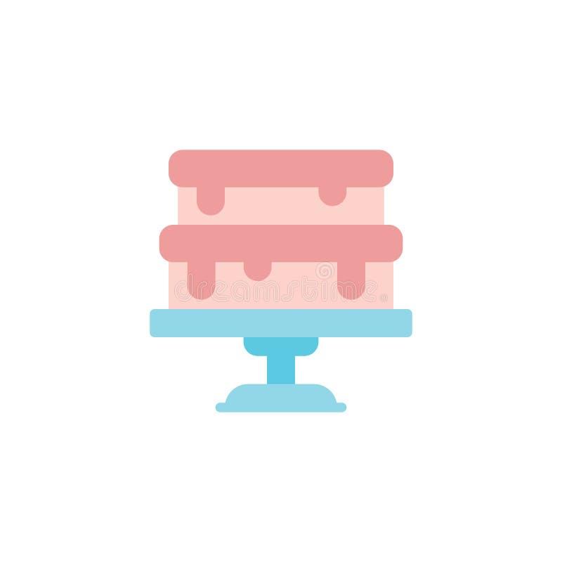Cake on stand flat icon royalty free illustration