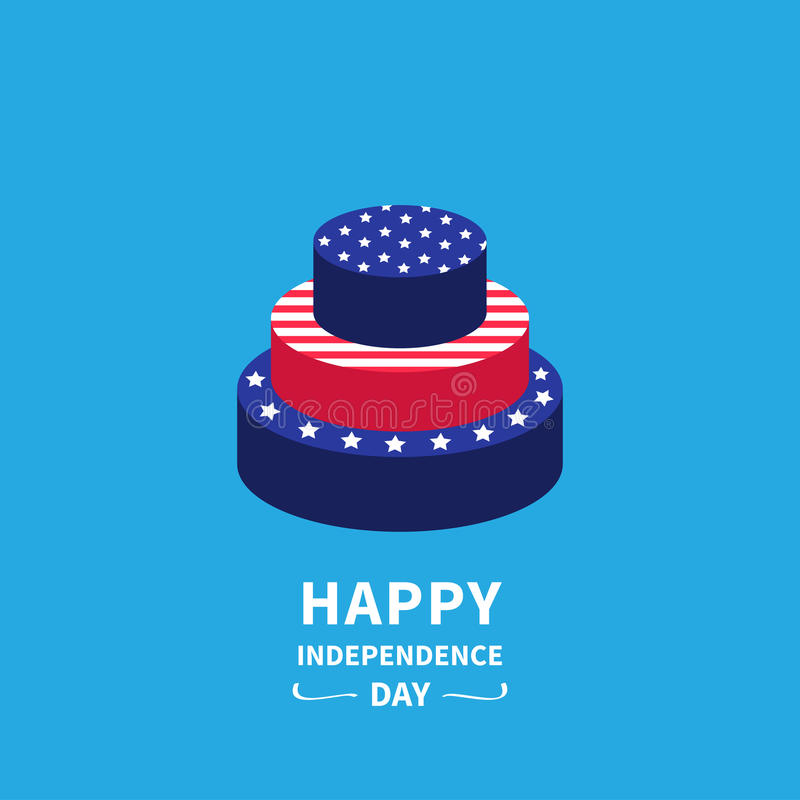 Cake with star and strip Happy independence day United states of America. 4th of July. Flat design stock illustration
