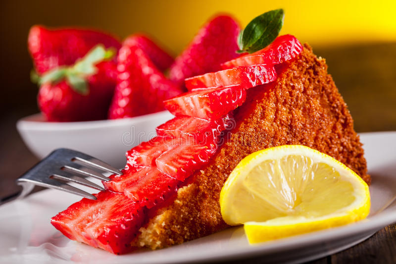 Download Cake with Strawberries stock photo. Image of slice, serve - 24136904