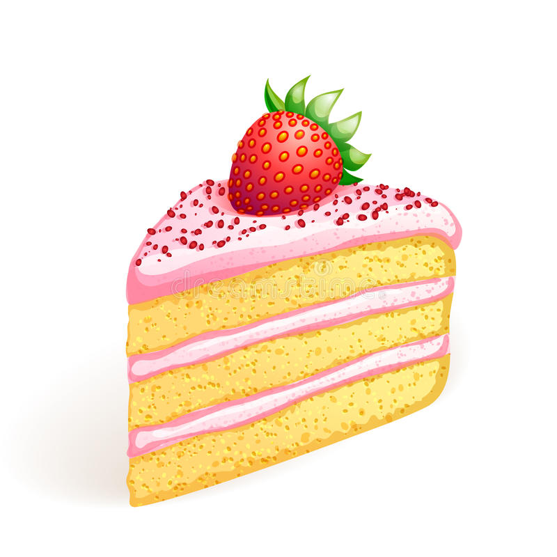Cake with strawberry vector illustration