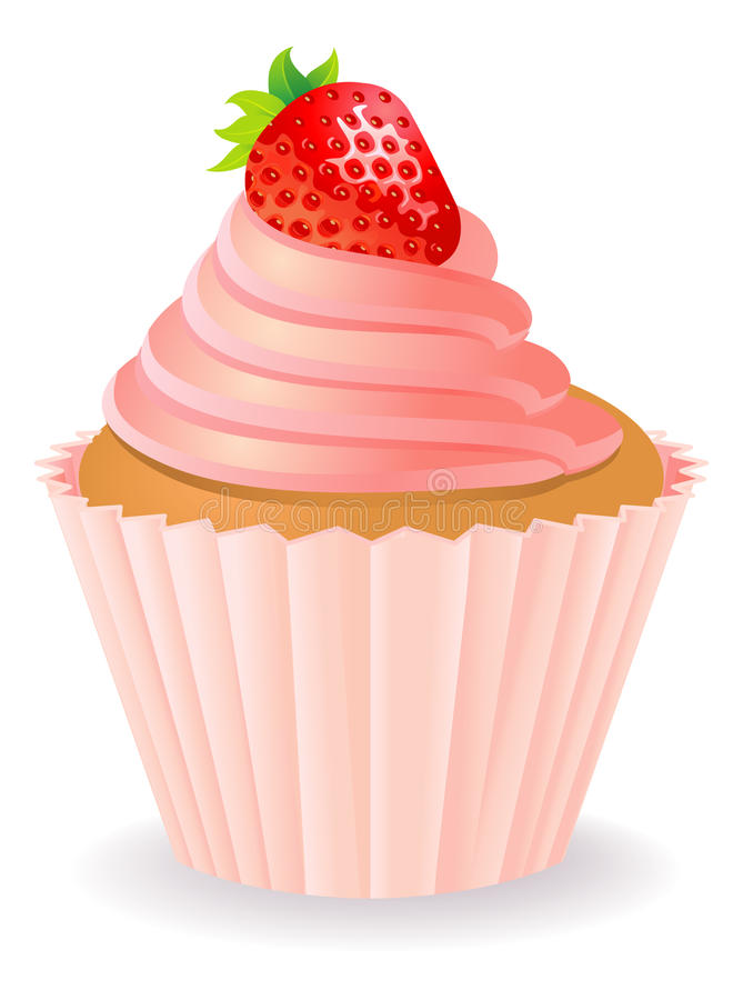 Cake with a strawberry royalty free illustration