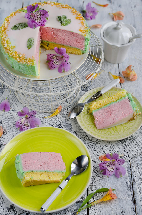 Cake with strawberry royalty free stock photo