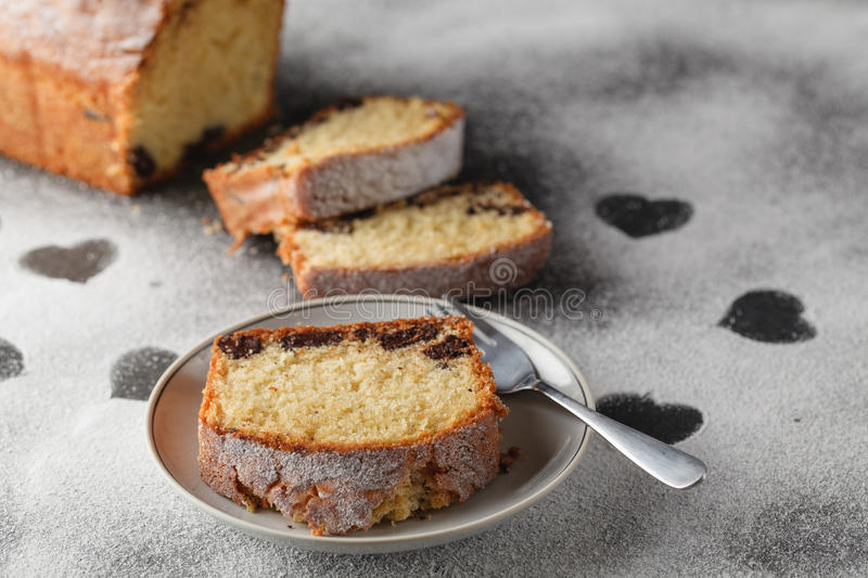 Cake on table with heart free space stock photography
