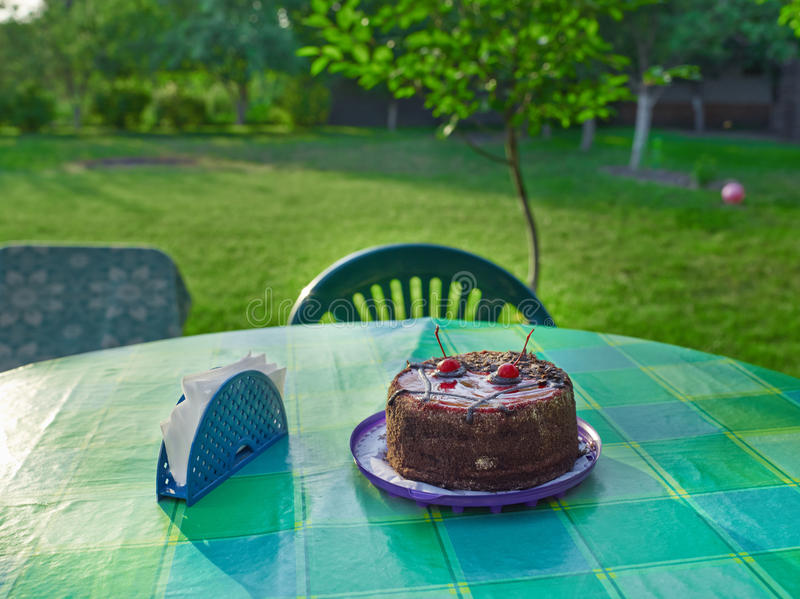 Cake on the table in rural area royalty free stock images