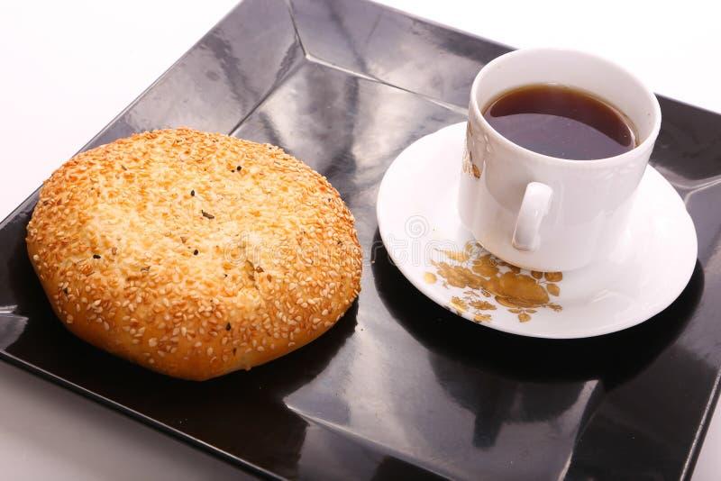 Cake with Tea. On black Tray royalty free stock photos