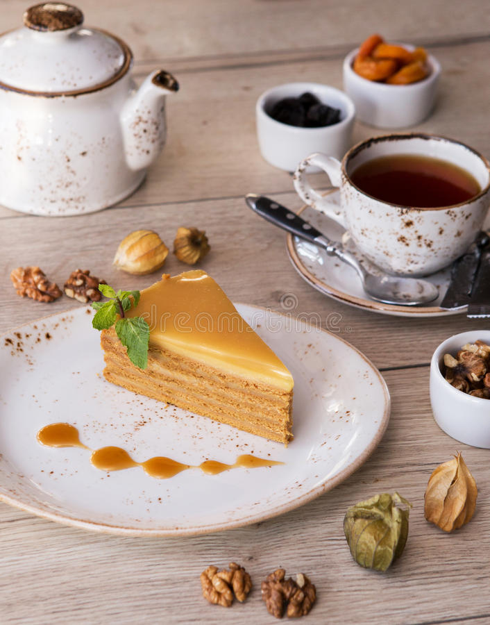 Cake with tea. royalty free stock photo