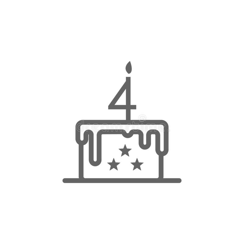 Cake, 4th July icon. Element of 4th of july icon. Thin line icon for website design and development, app development. Premium icon. On white background stock illustration