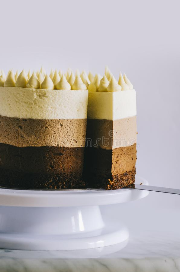 Cake Three Chocolate royalty free stock photography