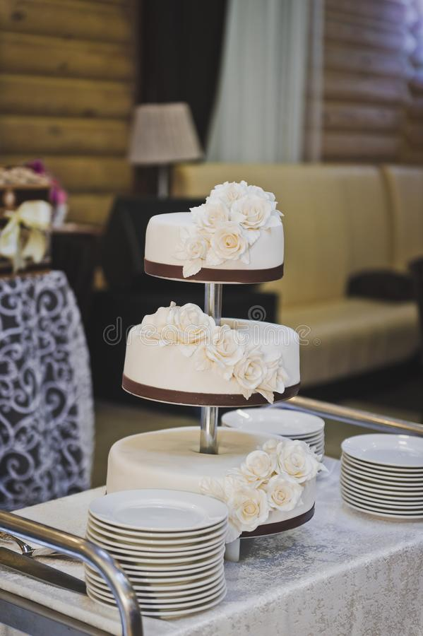 Sweet work of culinary art 8941. A cake with three separate layers royalty free stock images