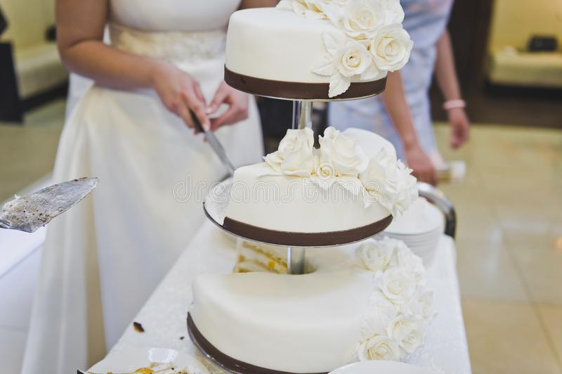 Cake with three separate layers 8949. Sweet work of culinary art stock image