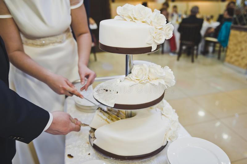 Cake with three separate layers 8950. Sweet work of culinary art stock photo