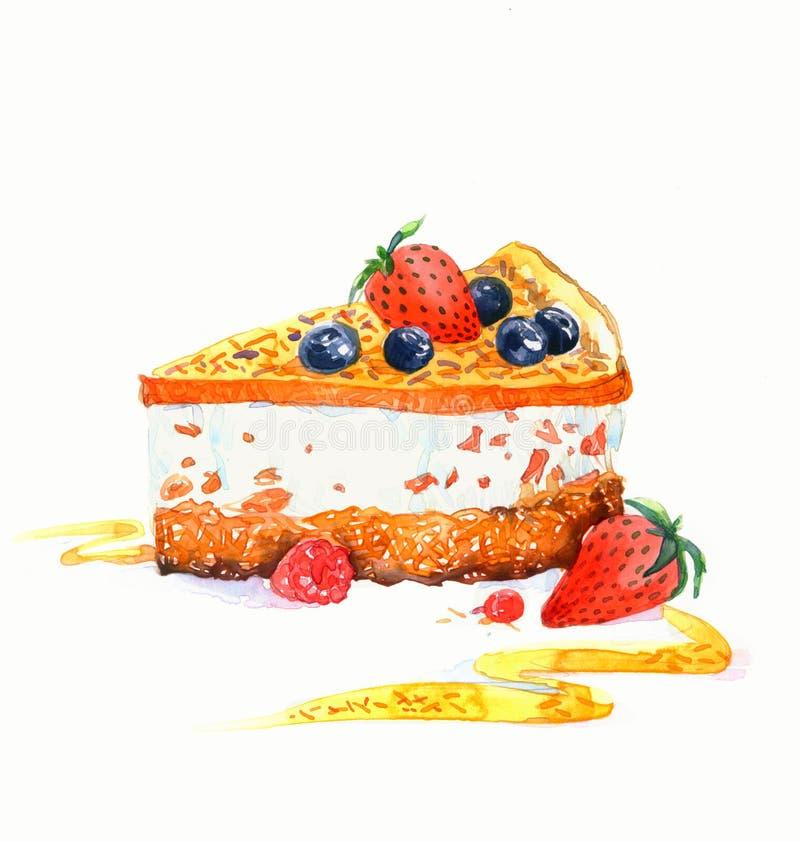 The cake triangular dessert cake watercolor royalty free stock image