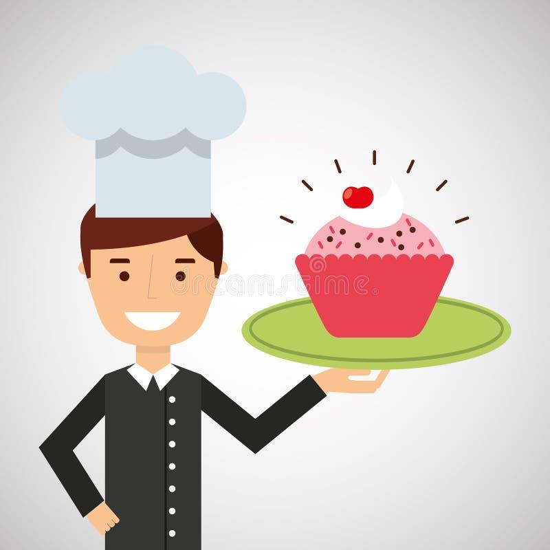 Cake van de het dessert de roze kop van de beeldverhaalchef-kok royalty-vrije illustratie