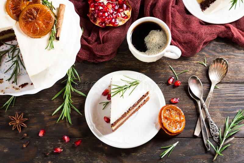 Cake van de Kerstmis de heerlijke chocolade royalty-vrije stock foto's