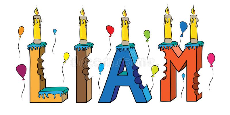 Cake van de de voornaam de gebeten kleurrijke 3d van letters voorziende verjaardag van Liam met kaarsen en ballons stock illustratie