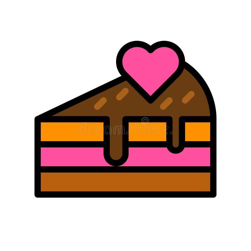Cake vectorillustratie, het gevulde editable overzicht van het stijlpictogram vector illustratie