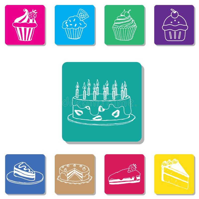Cake vectorreeks moderne eenvoudige pictogrammen royalty-vrije stock foto