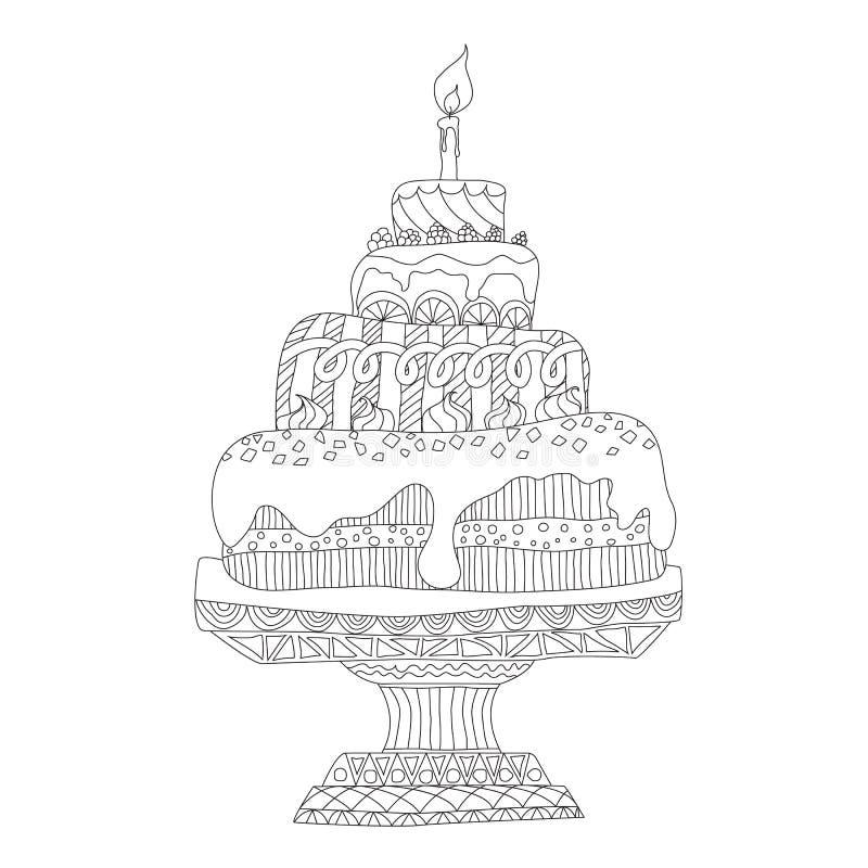 Cake voor het kleuren van boek stock illustratie