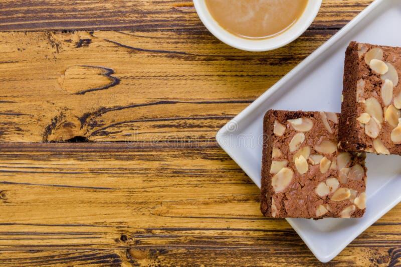 Cake voor Koffieachtergrond royalty-vrije stock foto's