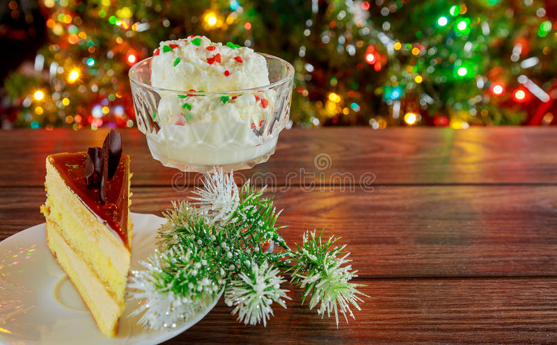 Cake of the whipped white, Christmas decorations,. Selective focus stock photos