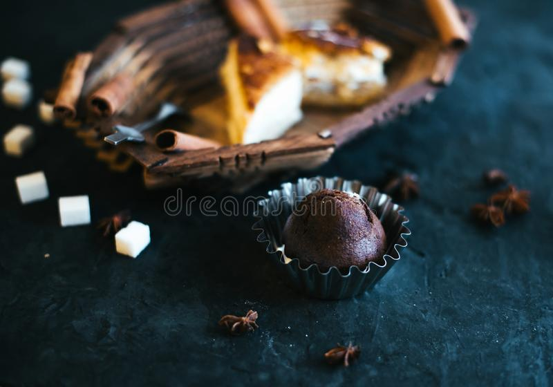 Download Cake On A Wooden Tray On A Black Matte Background Stock Image - Image of baking, mint: 111619825