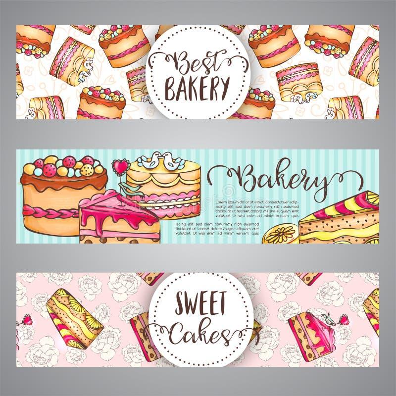 Cakebanners met handdrawn akes en roze plonsen Zoete gebakjeslogan De inzamelingsvector van bakkerijdesserts vector illustratie