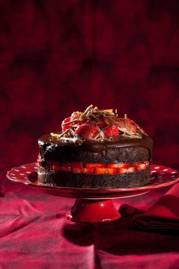 cakechokladjordgubbe arkivfoto