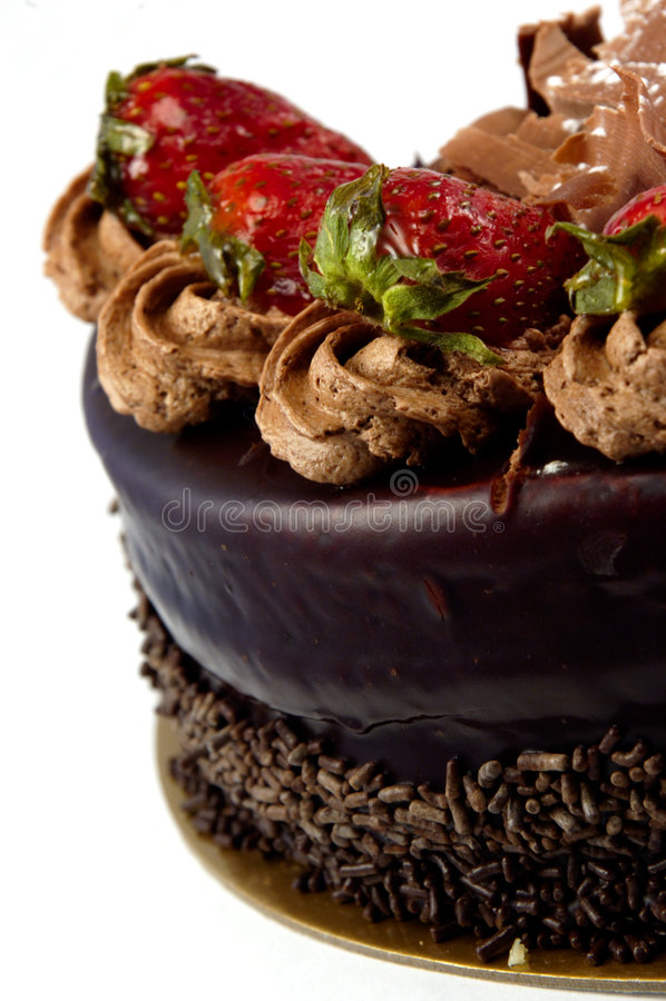 cakechokladjordgubbe royaltyfria bilder