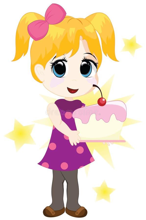 cakeflicka little royaltyfri illustrationer