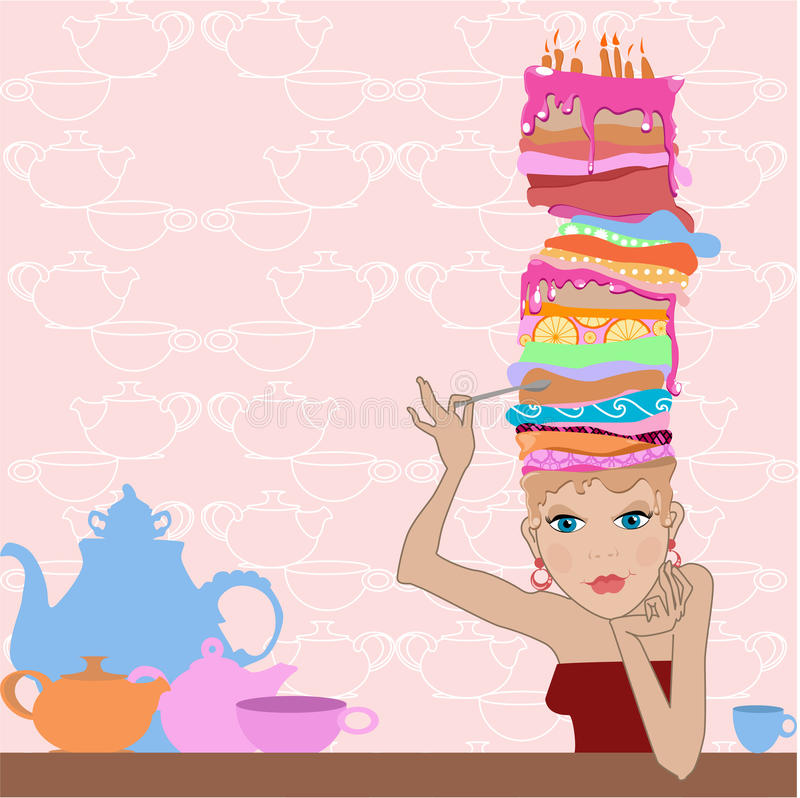 cakeflickaok vektor illustrationer