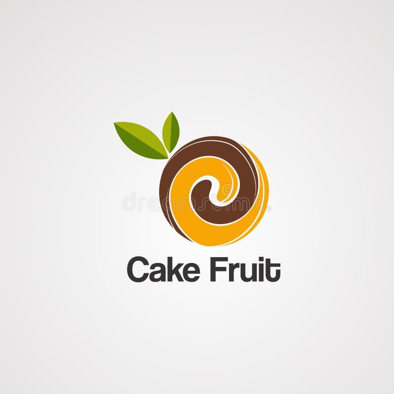 Cakefruit op bruine embleemvector, pictogram, element, en malplaatje voor bedrijf stock illustratie