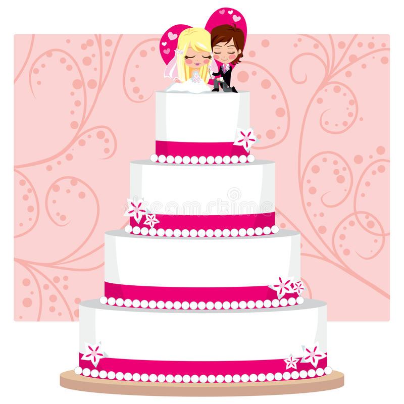 cakejordgubbebröllop royaltyfri illustrationer