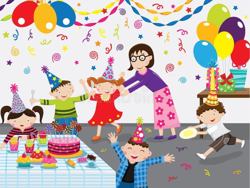 caken för födelsedagen för afrikansk amerikanballonger firar den härliga tid för deltagaren för utgångspunkten för holdingen för  royaltyfri illustrationer