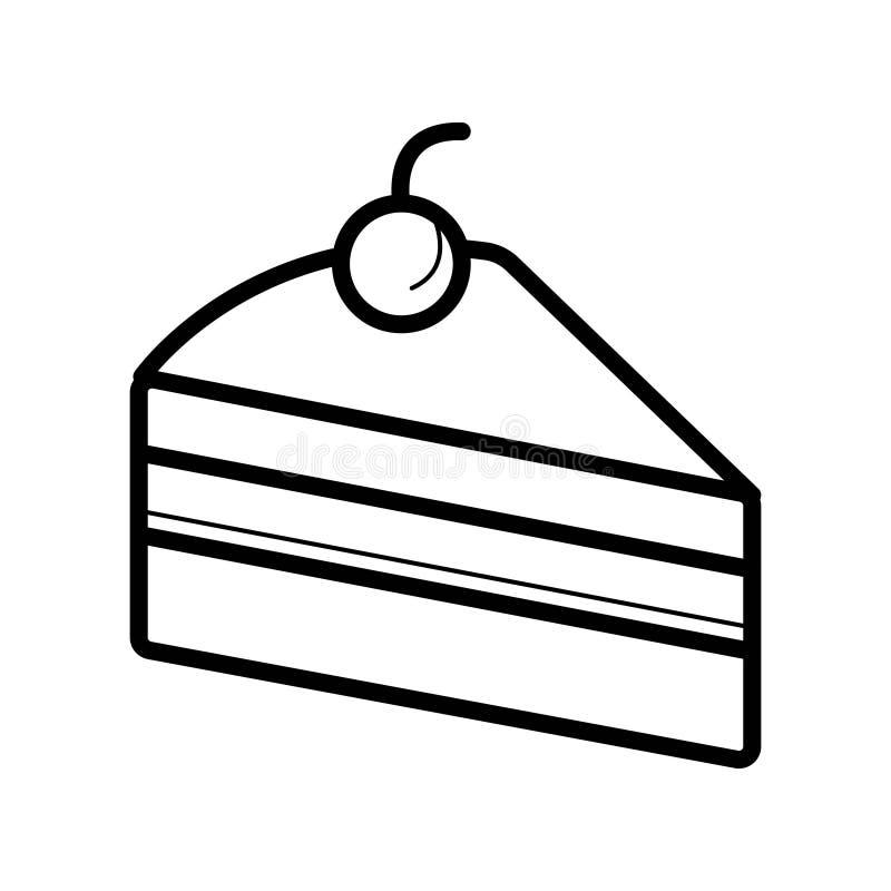 Cakepictogram Vlakke vectorillustratie in zwarte op witte achtergrond vector illustratie