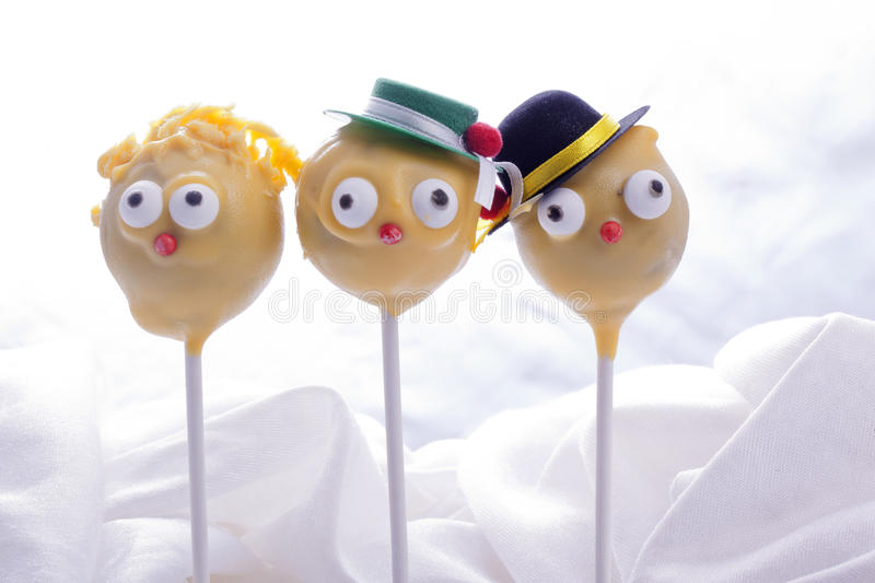 Cakepops for children birthday party. Sweet yellow cakepops for children birthday party royalty free stock photography