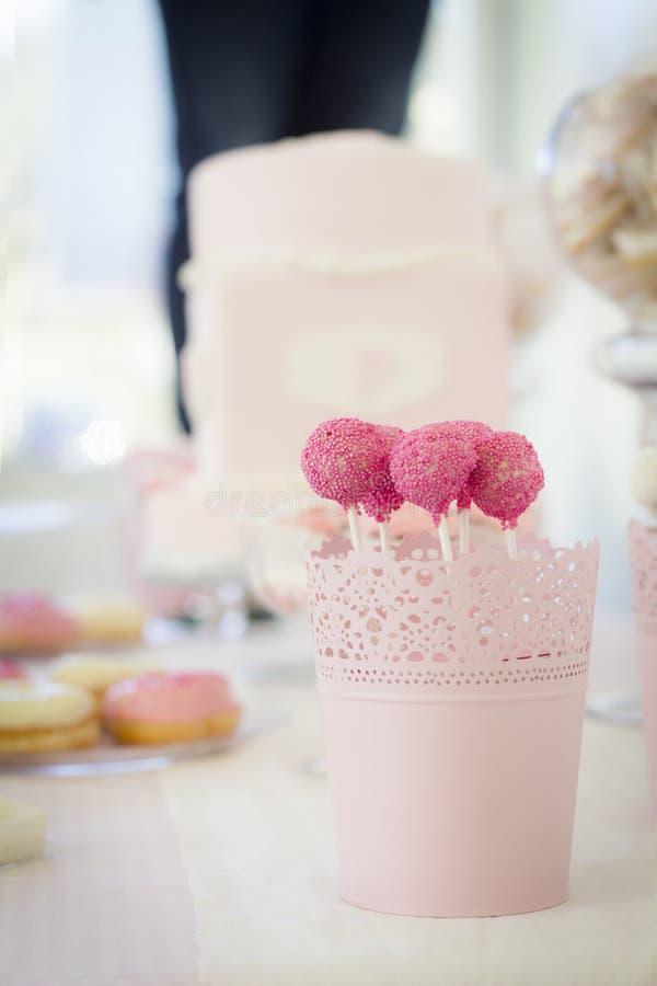 CakePops rosas obrazy stock