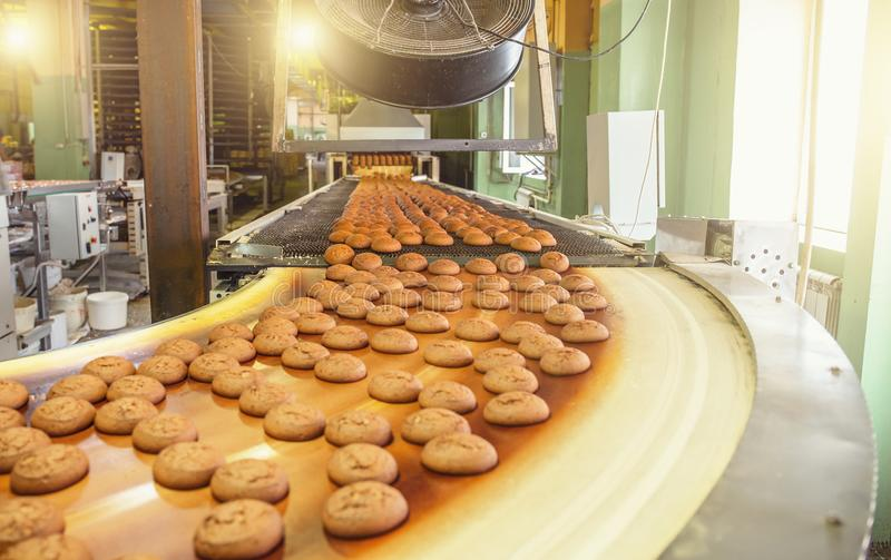 Cakes on automatic conveyor belt or line, process of baking in confectionery culinary factory or plant. Food industry stock photography