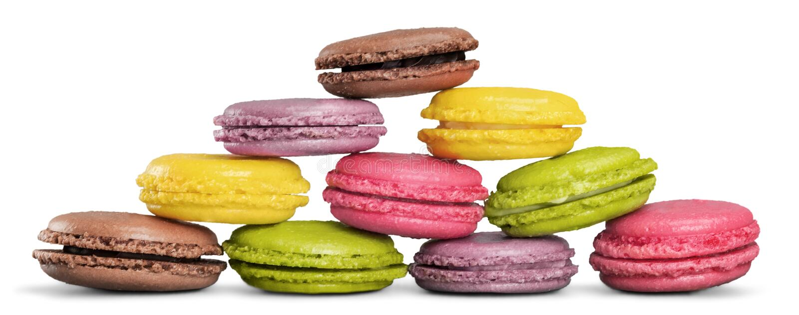 Pyramid of pastel macaroons on white background stock photography