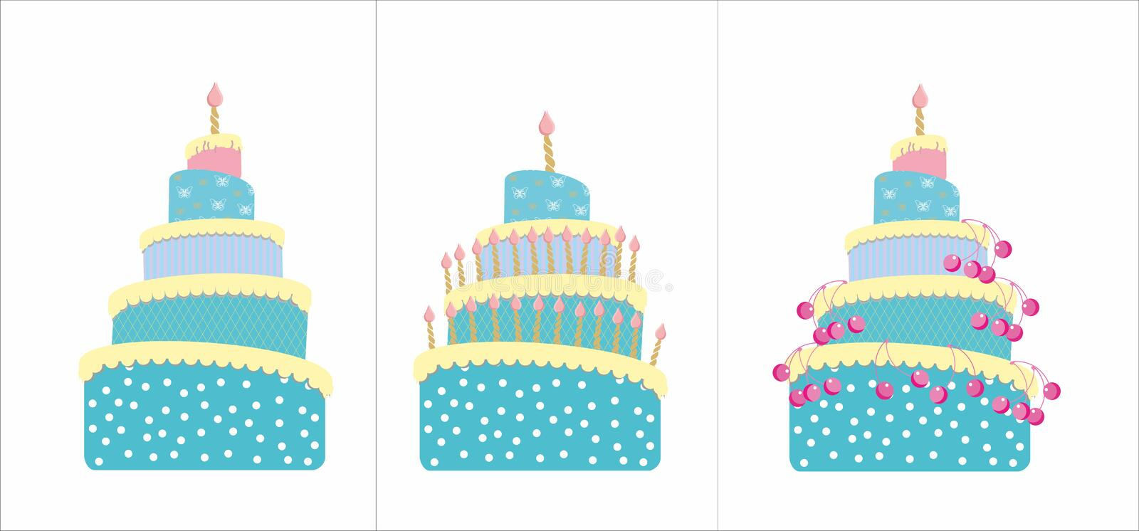 Cakes with cherry and candles stock image