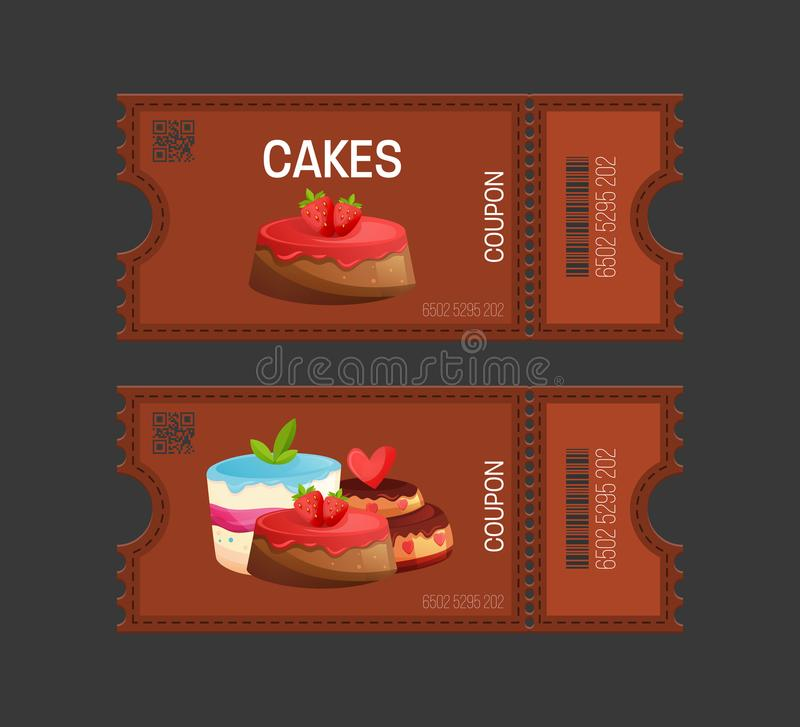 Cakes coupon. Gift Voucher ticket card. Coupon food, drink, eating. Cakes coupon. Gift Voucher ticket card. Coupon food and drink, eating. Pass to attend events vector illustration