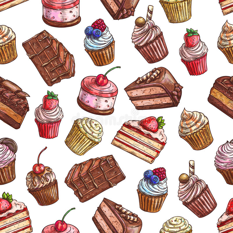 Cakes, cupcakes, muffins. Patisserie pattern. Sweet cakes, strawberry cupcakes, chocolate muffins, tarts with fruits and berries. Vector color sketch seamless stock illustration