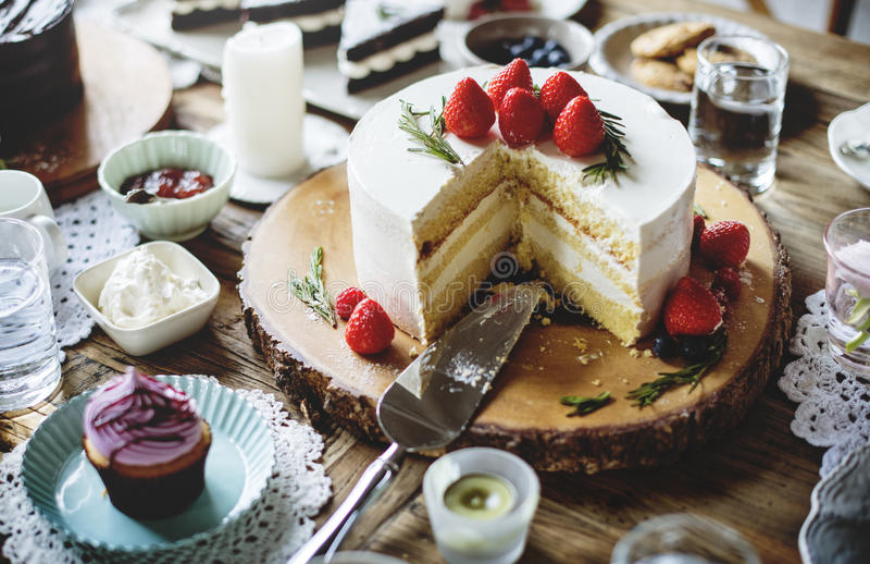 Cakes Delicious Dessert Bakery Event Party Reception stock photos