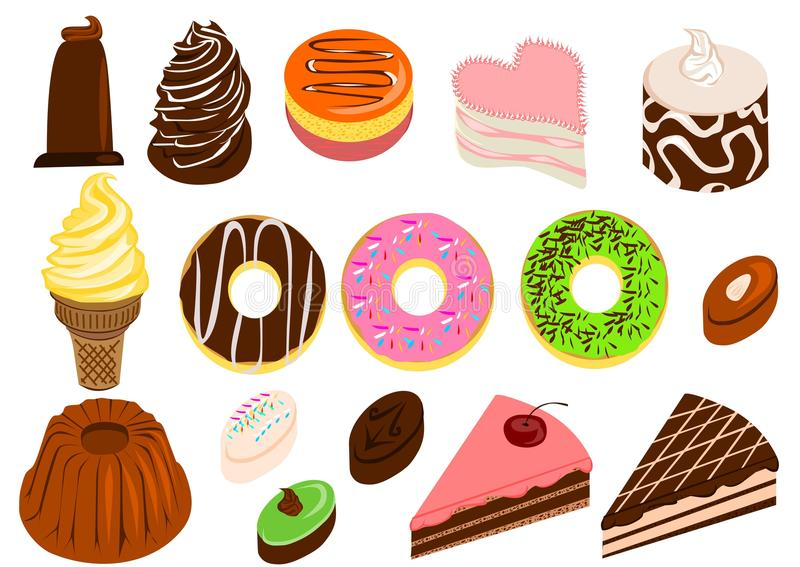 Cakes and desserts set. Set of different kind of desserts and cakes stock illustration
