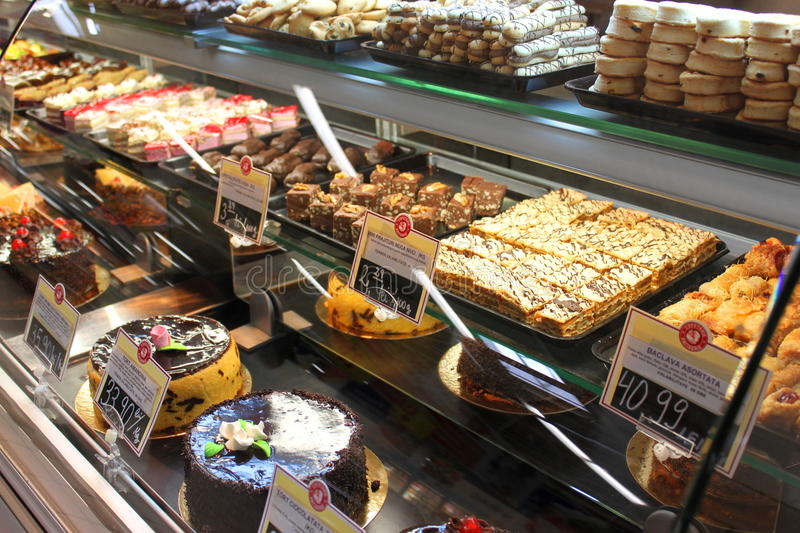 Cakes And Desserts In Supermarket Editorial Image