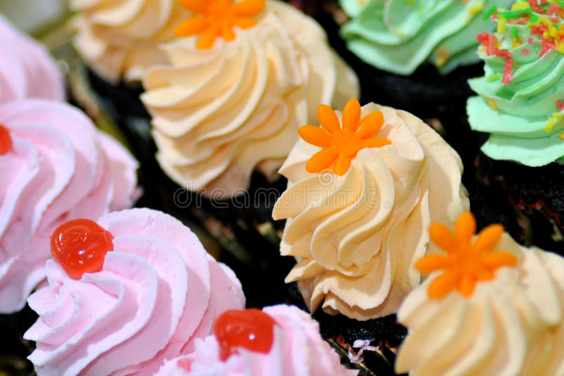 Cakes. Different cakes arranged for reception stock photography
