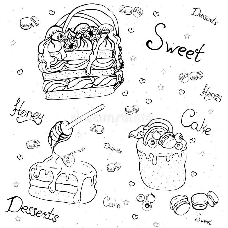 cakes en desserts met fruit stock illustratie