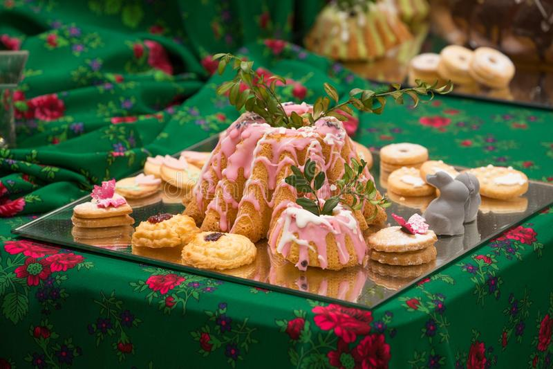 Cakes en gebakjes, diverse types royalty-vrije stock afbeelding